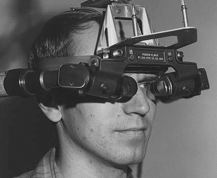 One Of Ivan Sutherland's Students Tests Out The Sword Of Damocles Head-mounted Display Suther-land Built In The 1960s. The Two Prisms In Front Of The Student's Eyes Reflected Computer Images From The Cylin-drical Cathode-ray Tubes. (University Of Utah/Evans & Sutherland Computer Corp.)